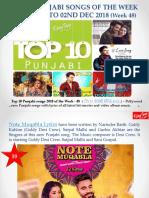 Top 10 Punjabi Songs 2018 - 26th Nov 2018 to 02nd Dec 2018 - Week - 48