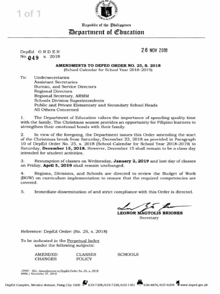 amendmends to deped order no 25 s 2018