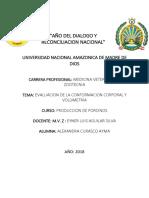 EVALUACION DE LA CONFORMACION CORPORAL Y VOLUMETRIA