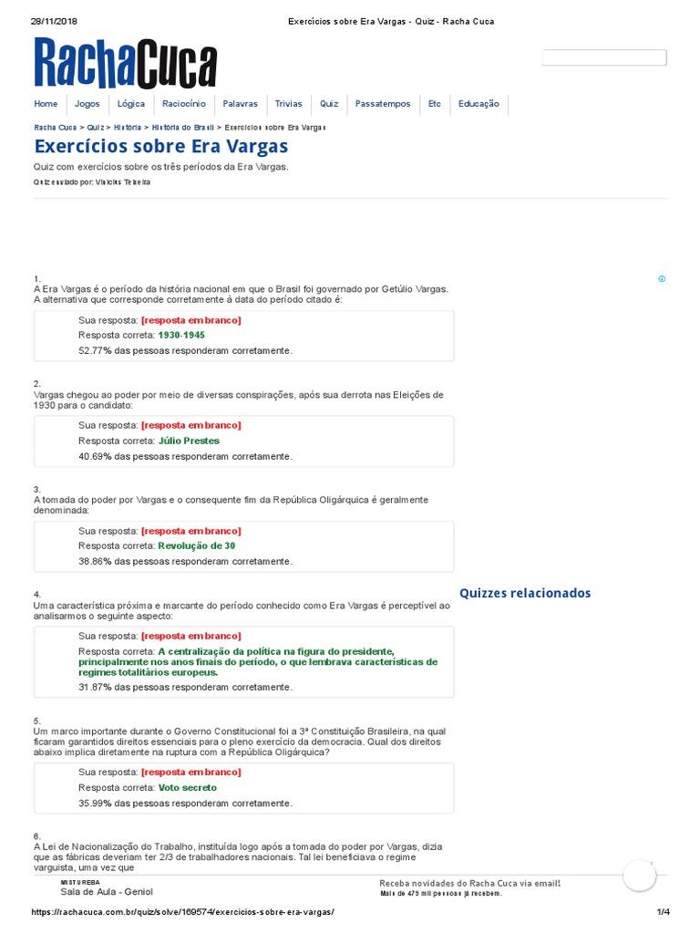 Exercicios Sobre Era Vargas Quiz Racha Cuca Republica Brasil
