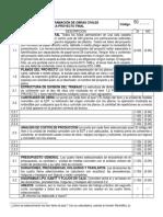 Rúbrica Proyecto Final Costos y Programación de Obras Civiles