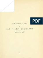 Contributions to Latin Lexicography