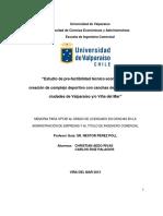 Estudio de Pre-factibilidad Técnico Económica Para La Creación de Complejo Deportivo Con Canchas