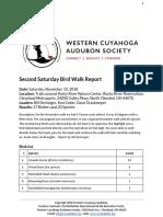 Second Saturday Bird Walk November 10, 2018 at Rocky River Nature Center Report