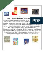 12. December 2018 Kids' Corner Flyer