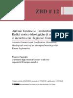 Marco_Paciotti, Antonio Gramsci e l'Irredentismo. Radici Storico-ideologiche Di Un Tentativo Di Incontro Con i Legionari Fiumani