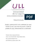 Estudio y Optimizacion de Ciclos Combinados Gas-Vapor (CCGT) Con Uno y Dos Niveles de Presion y Estudio de Perdidas de Carga y Dimensionado de Su Condensador.