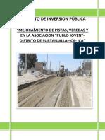 Diagnostico de PIP mejoramiento de pistas y veredas
