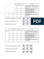 student self-reflection sheet