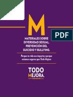 Materiales Sobre Diversidad Sexual Prevención Del Suicidio y Bullying - Todo Mejora - 2013