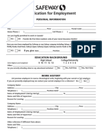 2016 Safeway Retail Application Form
