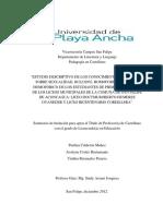 """Tesis - """"ESTUDIO DESCRIPTIVO DE LOS CONOCIMIENTOS Y OPINIONES SOBRE SEXUALIDAD, BULLYING, HOMOFOBIA Y BULLYING HOMOFÓBICO DE LOS ESTUDIANTES DE PRIMER AÑO MEDIO DE LOS LICEOS MUNICIPALES DE LA COMUNA DE SAN FELIPE DE ACONCAGUA"""