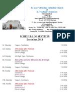 12. Schedule of Divine Services - December, 2018