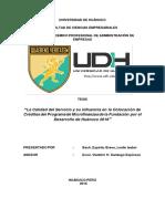 La Calidad Del Servicio y Su Influencia en La Colocacion de Creditos Del Programa de Microfinanzas de La Fundacion Por El Desarrollo de Huanuco 2016