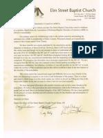 Elm Street Baptist ARBCA Withdrawal Letter 25 Nov 2018