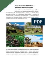 El Valor de Los Ecosistemas Para La Humanidad y La Biodiversidad