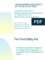 The Philippine Food Safety Act of 2013 or RA 10611