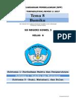 Rpp Pjok Kelas 6 Tema 8 k13 Revisi 2017