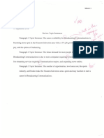 preliminary topic sentences initialed by instructor for instructor review