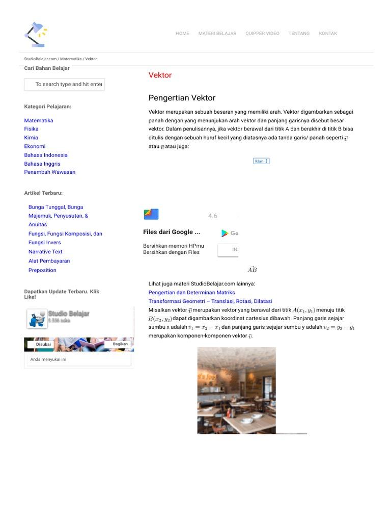 Vektor Pengertian Rumus Operasi Vektor Di R2 R3 Contoh Soal