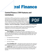 Central Finance 1709 Features and Limitations