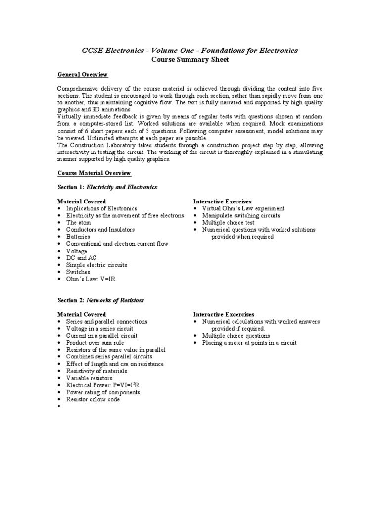 GCSE Electronics - Volume One - Foundations for Electronics
