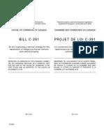 Projet de loi C-391 concernant une stratégie nationale sur le rapatriement de biens culturels autochtones