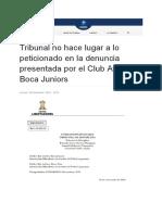Fallo de la Conmebol sobre la denuncia de Boca a River