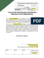 PLT-SST-003 Política de Preparación, Prevención y Respuesta Ante Emergencias