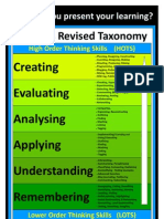 Blooms Revised Taxonomy Poster A3 With Examples