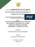 Proyecto de Factibilidad Para La Creación de Una Panadería y Pastelería en La Avendia Delta de La