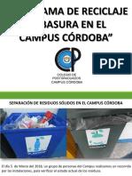 Situacción Actual y Acciones Del Programa de Clasificación y Reciclaje de Basura