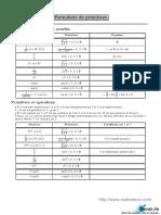 Résumer Formules Primitives