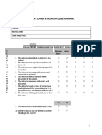 Student Course Evaluation Form