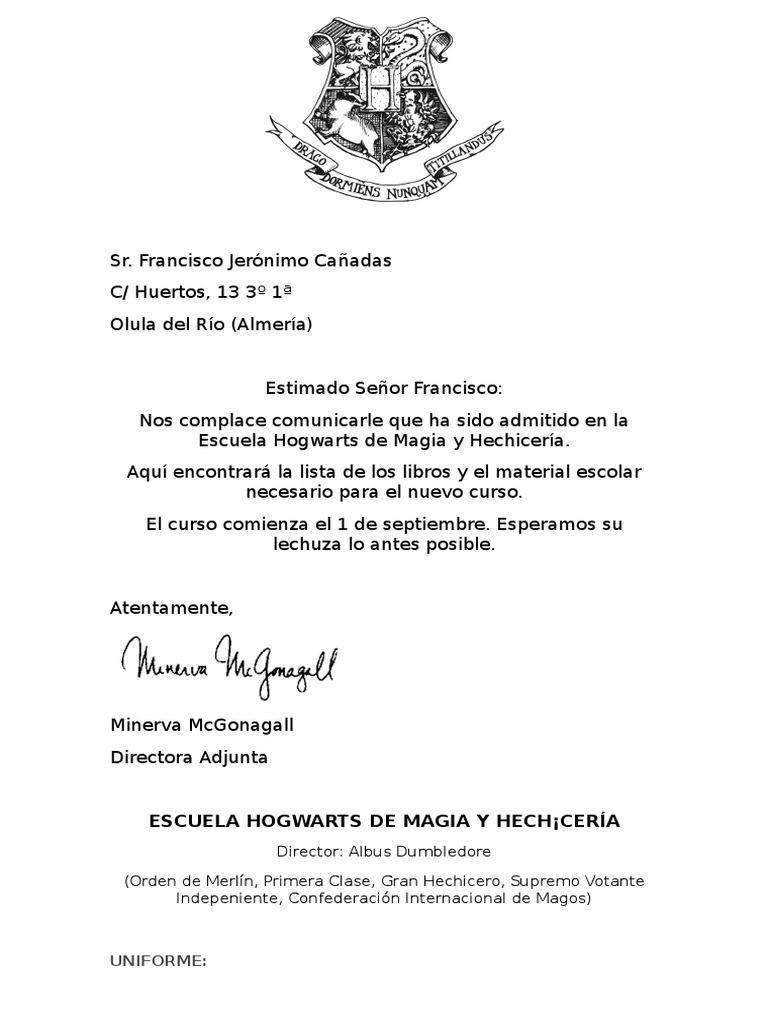 Carta Hogwarts Magia Paranormal Harry Potter