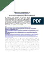 STA Analyse critique allégations sur AB