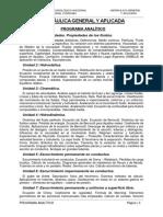 Programa Analítico Hidráulica General y Aplicada