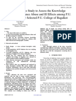A Descriptive Study to Assess the Knowledge Regarding Substance Abuse and Ill Effects among P.U. Students in the Selected P.U. College of Bagalkot