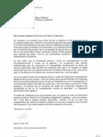 Carta de Quim Torra rechazando asistir a los actos del celebración del aniversario de la Constitución