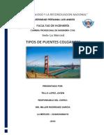 Monografía de Tipos de Puentes Colgantes