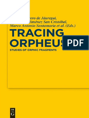 Studies Of Orphic Fragments Orpheus