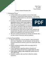 student centered discipline plan