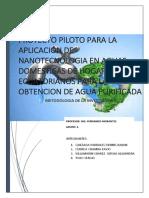 Proyecto Piloto Para La Aplicación de Nanotecnologia en Aguas Domesticas de Hogares Ecuatorianos Para La Obtencion de Agua Purificada