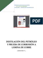 Guia Laboratorio Destilacion y Determinacion de La Corrosion de Laminas de Cobre REVISADO DOS LABOS