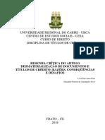 resenha crítica do artigo desmaterialização de documentos e títulos