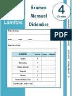 Diciembre - 4to Grado - Examen Mensual (2018-2019)