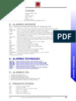 A - Reglementation. b - Alarmes Incendie s.s.i. ; Systèmes de Sécurité Incendie de Catégories a à e c - Alarmes Techniques d - Alarmes Vol