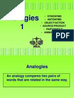 Analogies 1 Six Types of Analogies