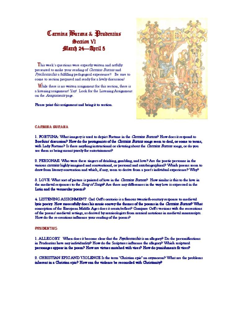 Section 6 Carmina Burana and Prudentius   Poetry   Fiction