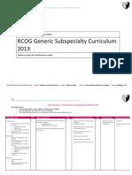 Generic Subspecialty Curriculum